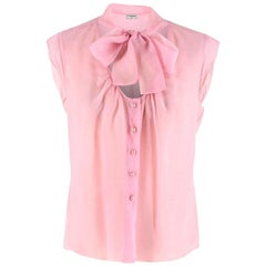 Chanel Pink Sheer Sleeveless Pussybow Blouse - Size S