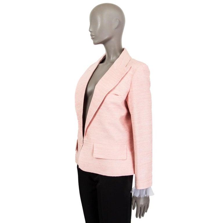 White CHANEL pink silk 2017 PARIS CUBA Blazer Jacket 46 XXL 17C  For Sale