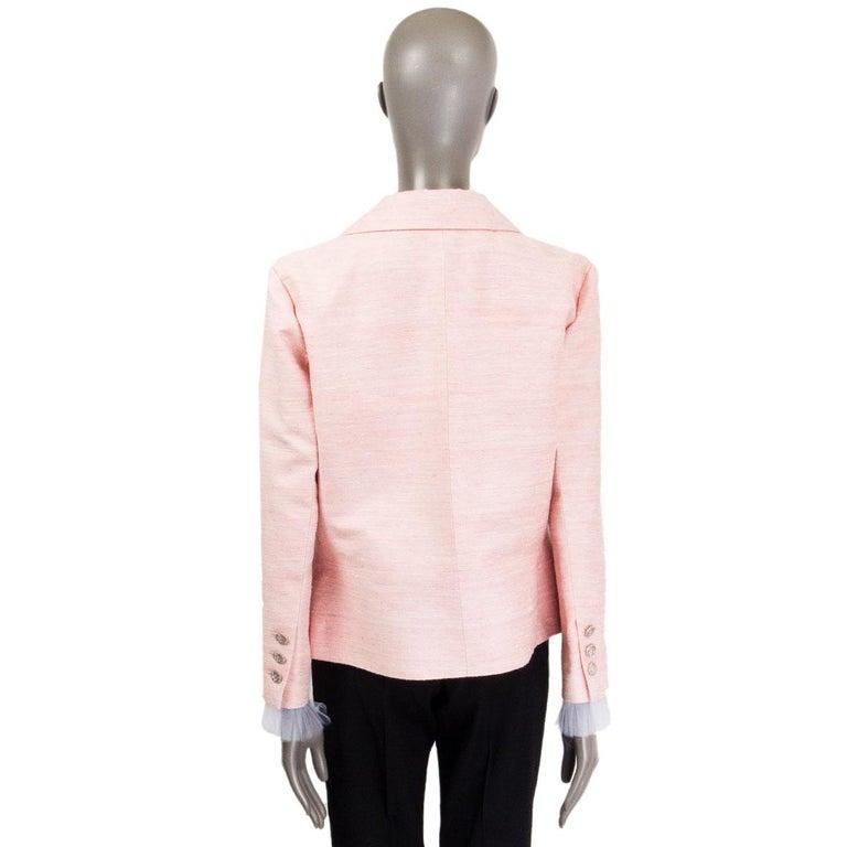 CHANEL pink silk 2017 PARIS CUBA Blazer Jacket 46 XXL 17C  In Excellent Condition For Sale In Zürich, CH