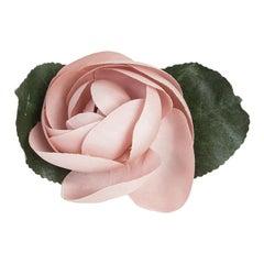 CHANEL pink silk CAMELIA Brooch