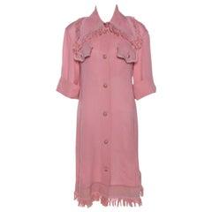 Chanel Pink Silk Crepe Fringed Shift Dress M