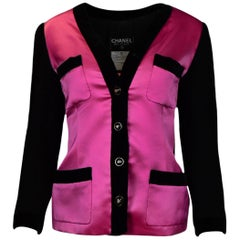Chanel Pink Silk Jacket With Black Velvet Trim sz FR40