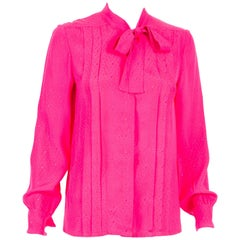 Chanel Pink Silk Logo Pussy Bow Lavalliere Shirt