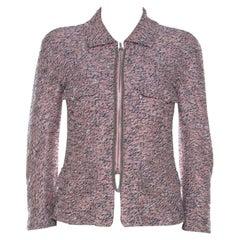 Chanel Pink Silk Tweed Zip Front Jacket S
