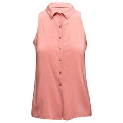 Chanel Pink Sleeveless Button-Up Top