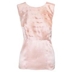 Chanel Pink Sleeveless Horizontal Pleats Silk top