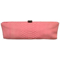 Chanel Pink Snakeskin Clutch