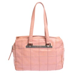 Chanel Pink Square Quilt Caviar Leather LAX Bowler Bag