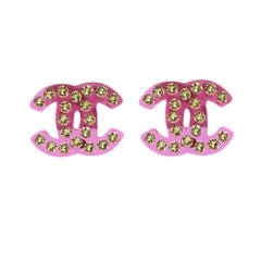 Chanel Pink Swarovski Crystal Pierced CC Earrings