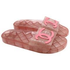 Chanel Pink Translucent CC Slide Sandals - Us size 11