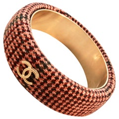 Chanel Pink Tweed Bracelet Bangle 13A Collection New In Box + Dust Bag M
