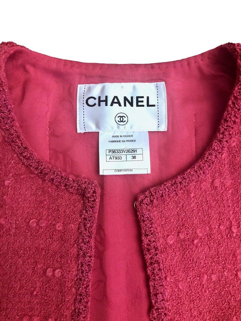 Chanel Pink Tweed Jacket For Sale 3