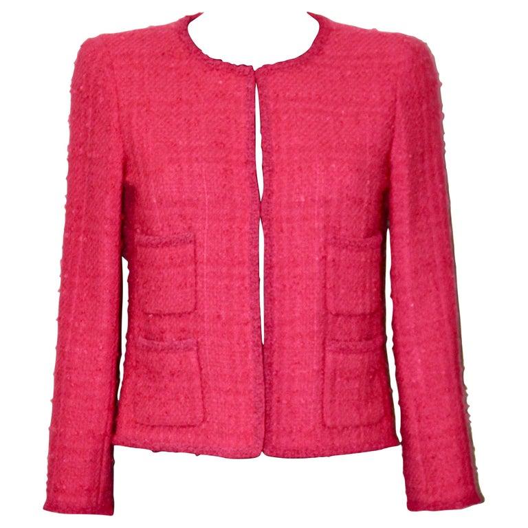 Chanel Pink Tweed Jacket For Sale