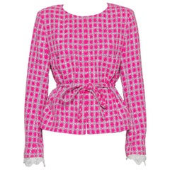 Chanel Pink Tweed Lace Trim Detail Belted Jacket XL