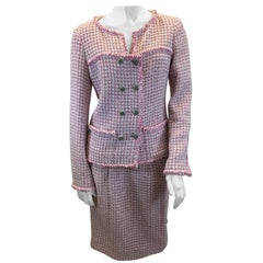 Chanel Pink Tweed Two Piece Skirt Set