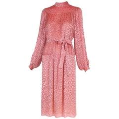 Chanel Pink Velvet Burnout Dress w/Self Belt ca. 1970's