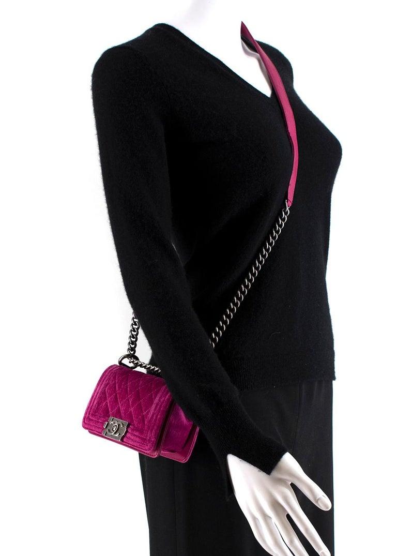 Chanel  Pink Velvet Quilted Mini 'Boy' Bag 6