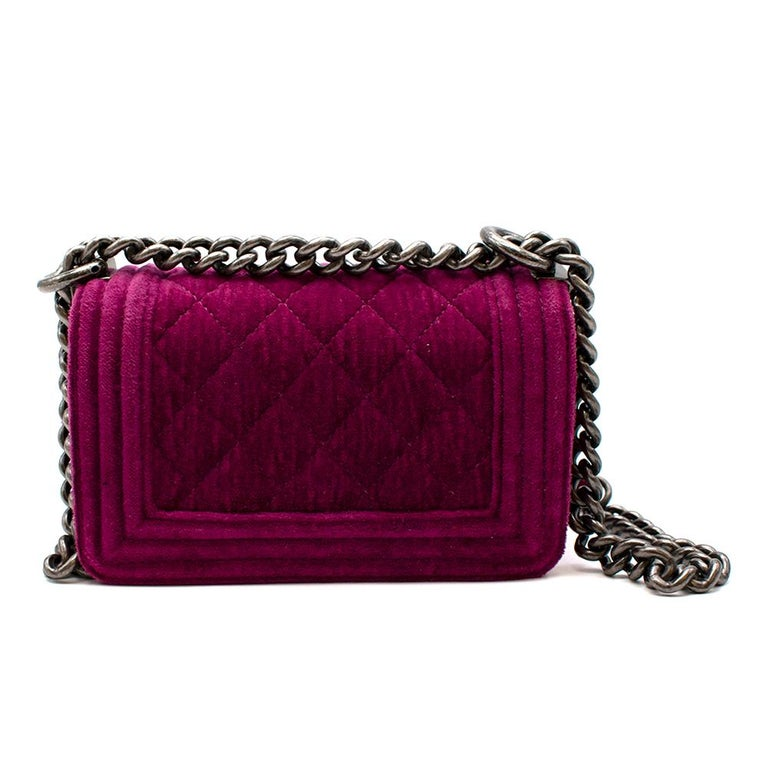 Chanel  Pink Velvet Quilted Mini 'Boy' Bag In Excellent Condition In London, GB