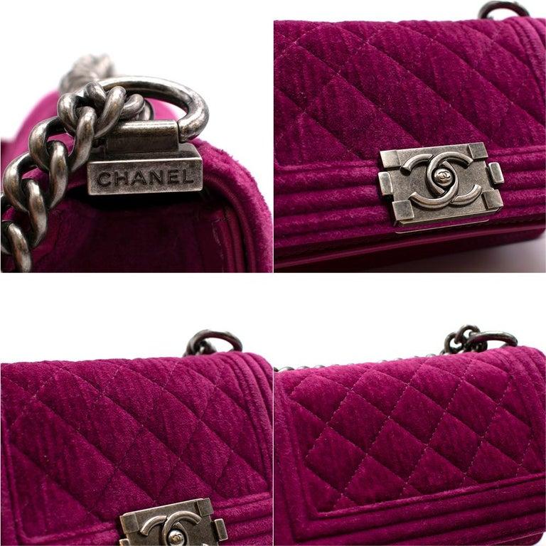 Chanel  Pink Velvet Quilted Mini 'Boy' Bag 2