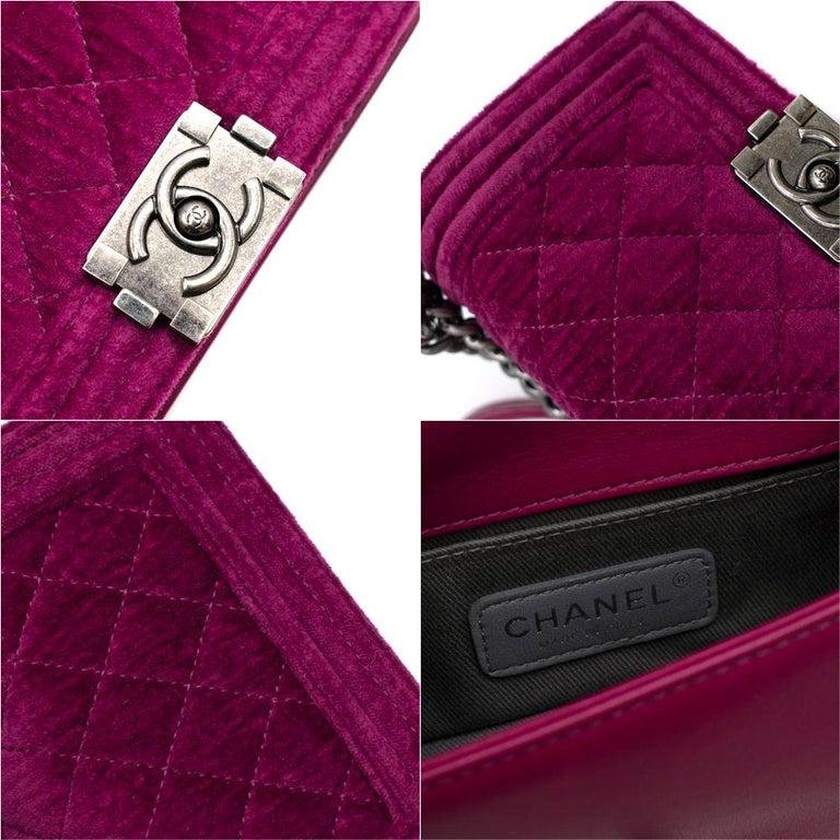 Chanel  Pink Velvet Quilted Mini 'Boy' Bag 3