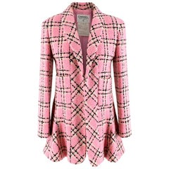Chanel Pink Vintage Check Wool Tweed Longline Jacket 36