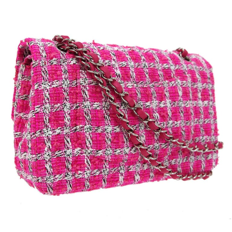 Women's Chanel Pink White Black Tweed Checker Leather Silver Evening Shoulder Flap Bag For Sale