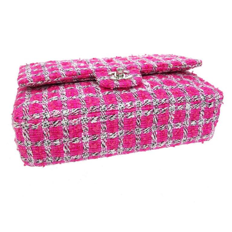 Chanel Pink White Black Tweed Checker Leather Silver Evening Shoulder Flap Bag For Sale 1