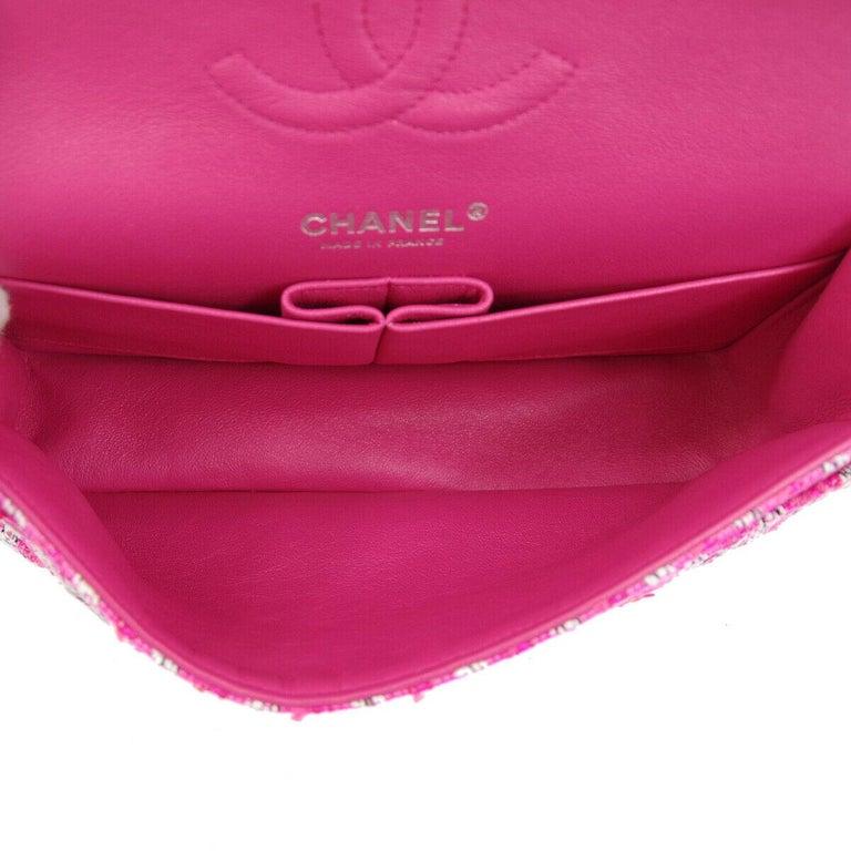 Chanel Pink White Black Tweed Checker Leather Silver Evening Shoulder Flap Bag For Sale 2