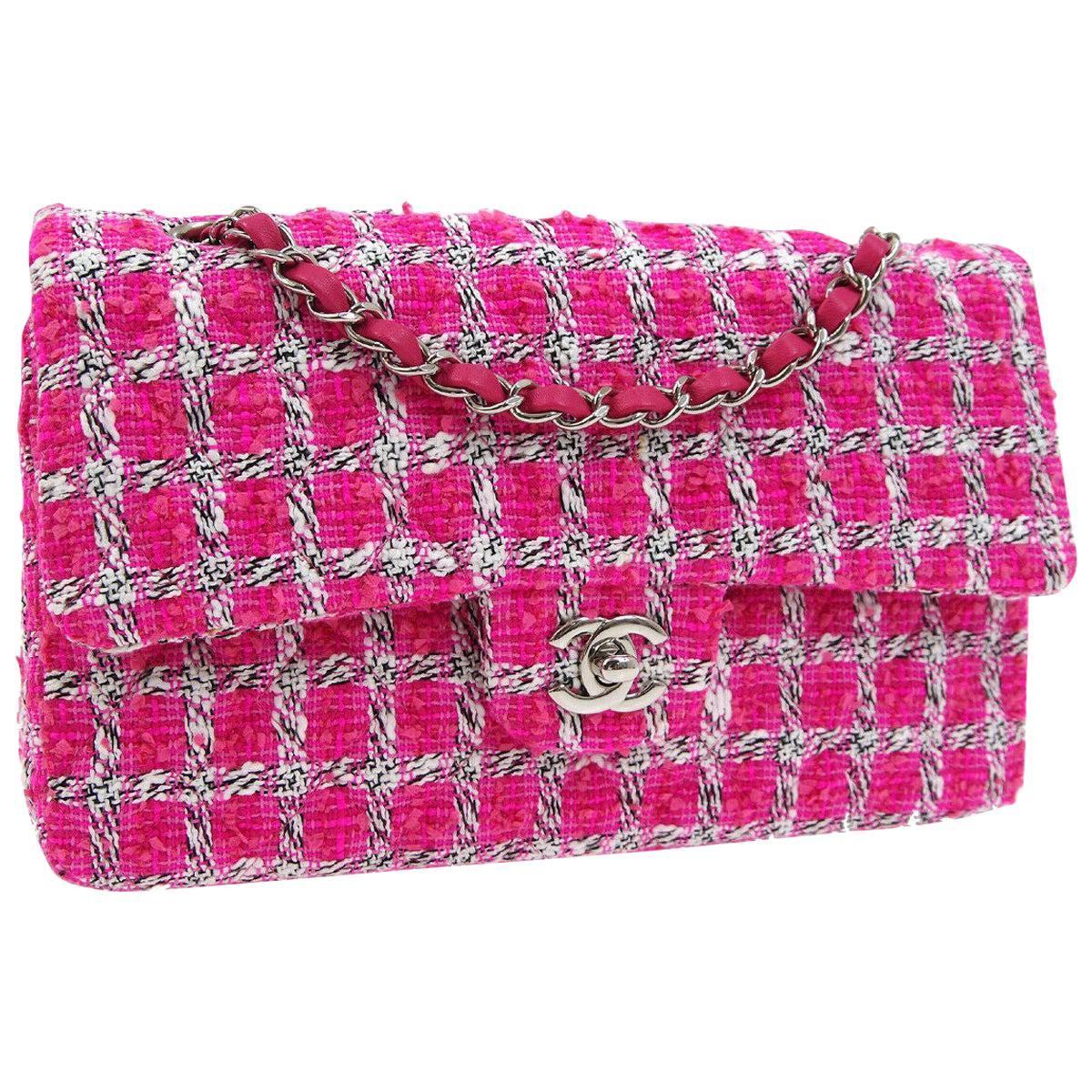 Chanel Pink White Black Tweed Checker Leather Silver Evening Shoulder Flap Bag
