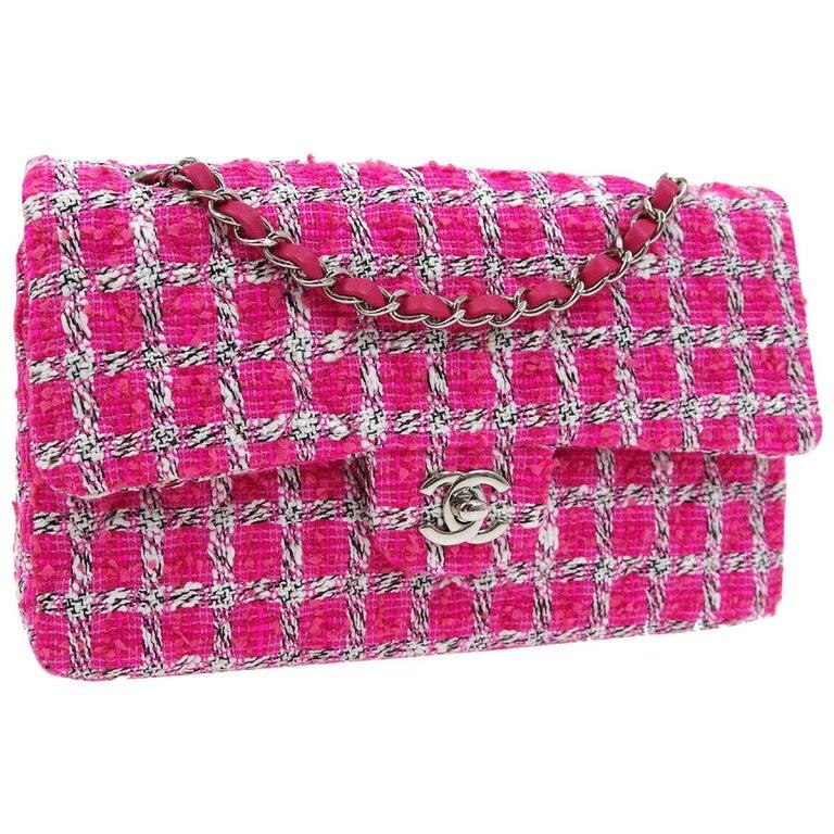 Chanel Pink White Black Tweed Checker Leather Silver Evening Shoulder Flap Bag For Sale