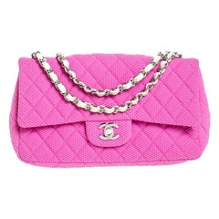 Chanel Pink/White Quilted Perforated Jersey Medium Classic Single Flap Bag