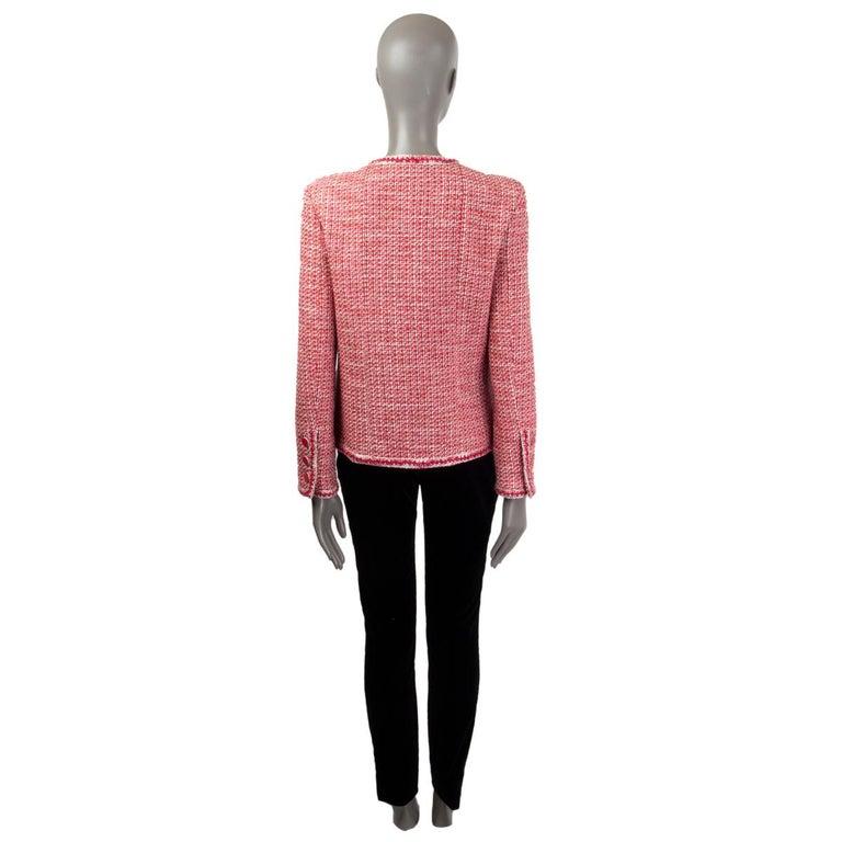Pink CHANEL pink white wool Tweed FLOWER BROOCH Blazer Jacket 42 L For Sale