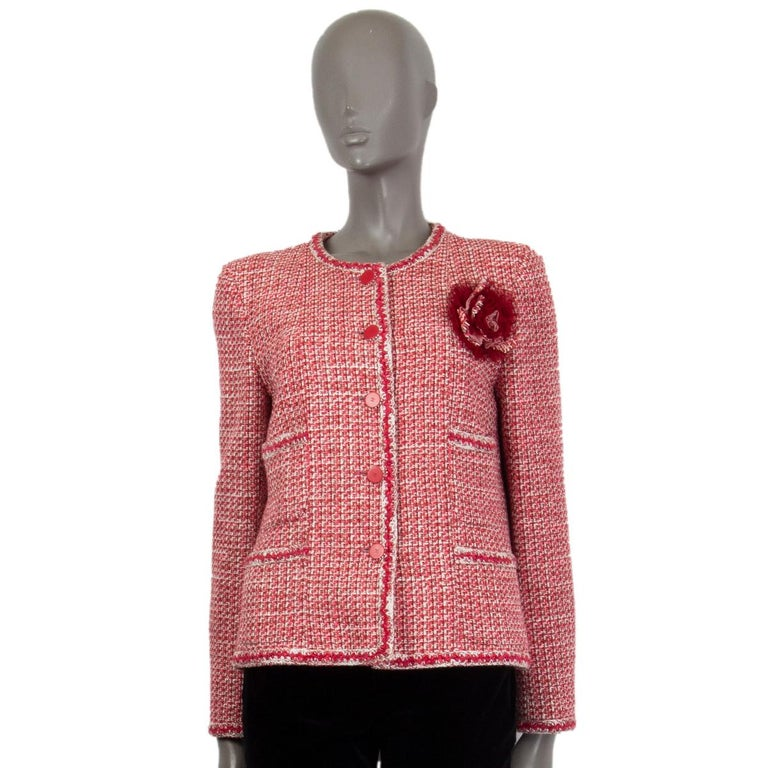 CHANEL pink white wool Tweed FLOWER BROOCH Blazer Jacket 42 L In Excellent Condition For Sale In Zürich, CH