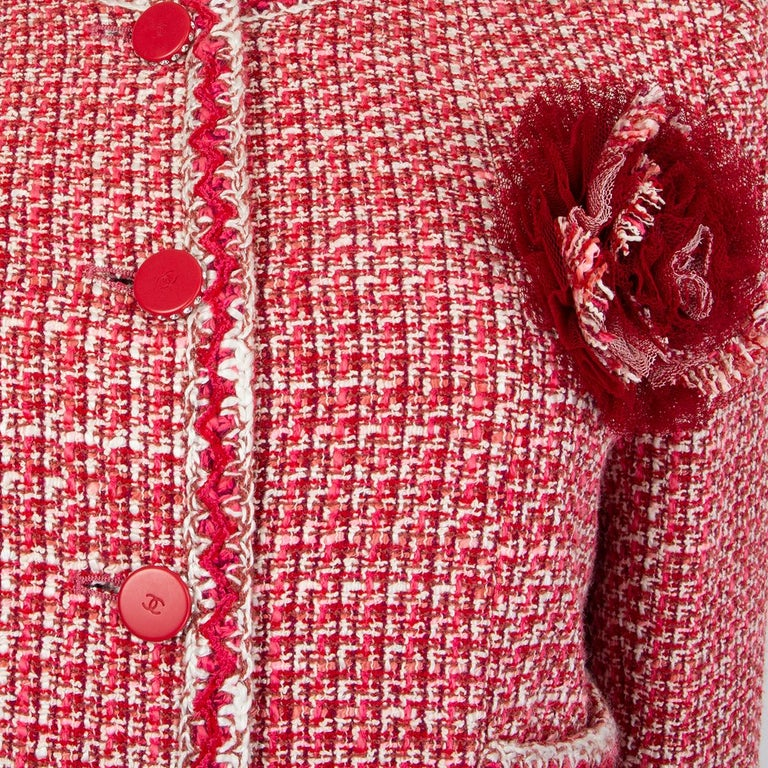 Women's CHANEL pink white wool Tweed FLOWER BROOCH Blazer Jacket 42 L For Sale