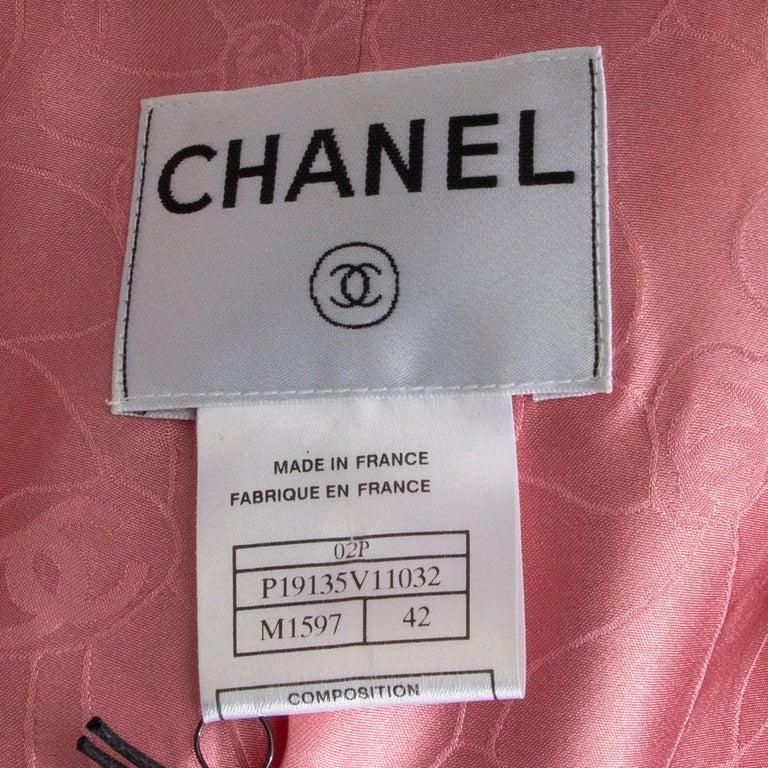 CHANEL pink white wool Tweed FLOWER BROOCH Blazer Jacket 42 L For Sale 1