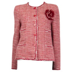 CHANEL pink white wool Tweed FLOWER BROOCH Blazer Jacket 42 L