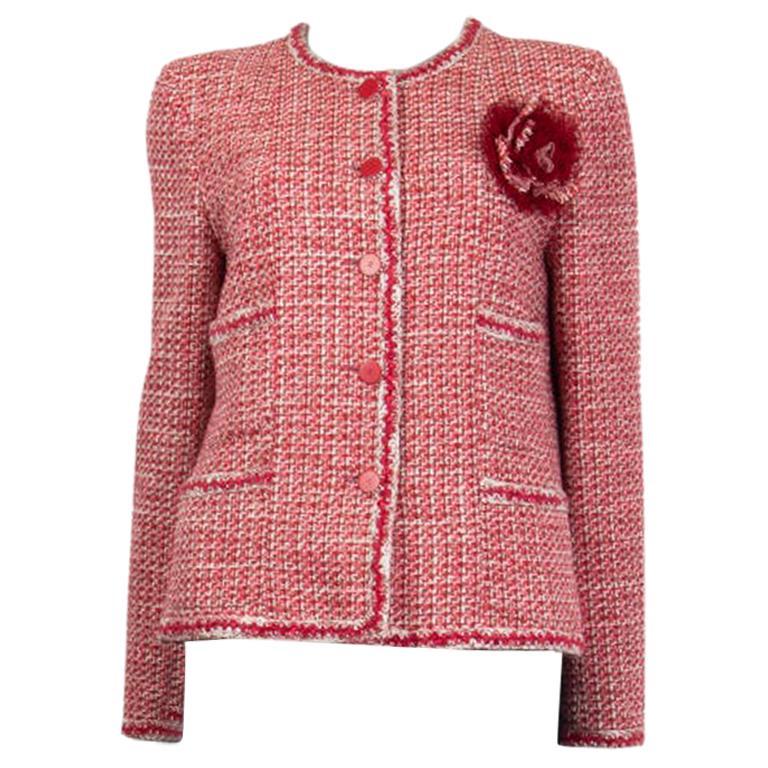 CHANEL pink white wool Tweed FLOWER BROOCH Blazer Jacket 42 L For Sale