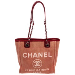 Chanel Pink Woven Canvas Small Deauville Tote Bag