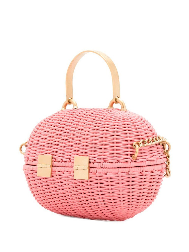 Chanel Pink Woven Padlock Bag In Excellent Condition In London, GB