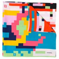 Chanel Pixel Print Silk Scarf