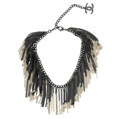 Chanel Plastron Multichain Necklace Black & Pale Gold CC