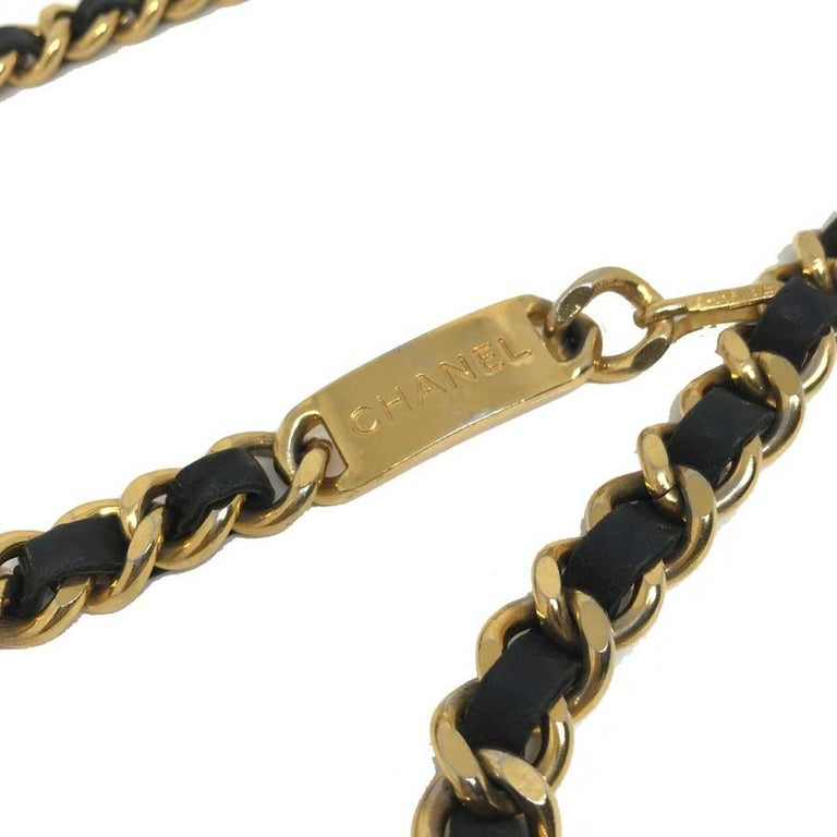 Women's CHANEL Plate Belt Chain Intertwined With Black Leather For Sale