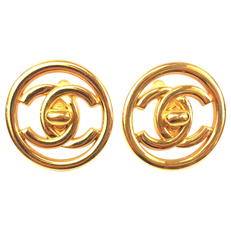 """Chanel plated gold turn lock """"CC"""" logo round clip on earrings  For Sale"""