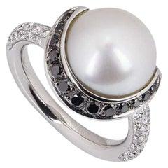 Chanel Platinum Diamond and Pearl Dress Ring