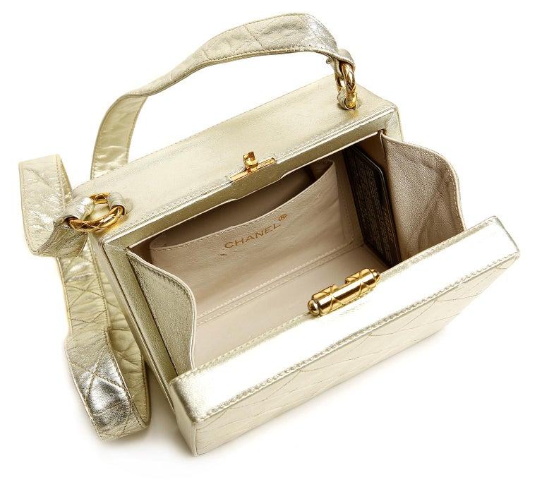 Chanel Platinum Leather Box Bag For Sale 6