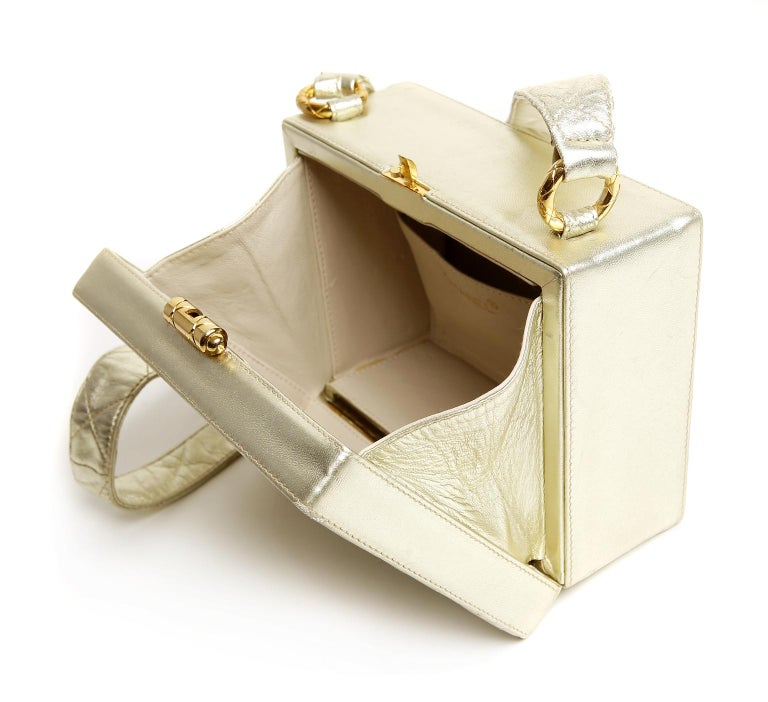 Chanel Platinum Leather Box Bag For Sale 8