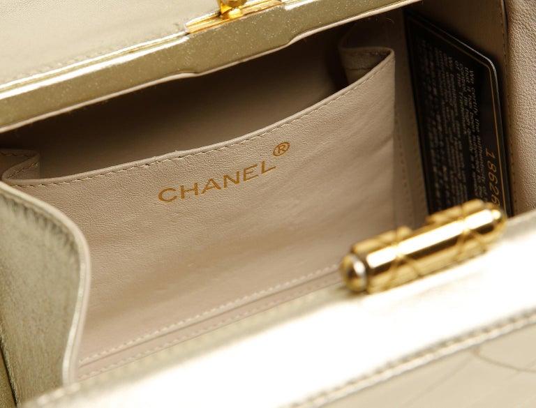 Chanel Platinum Leather Box Bag For Sale 9