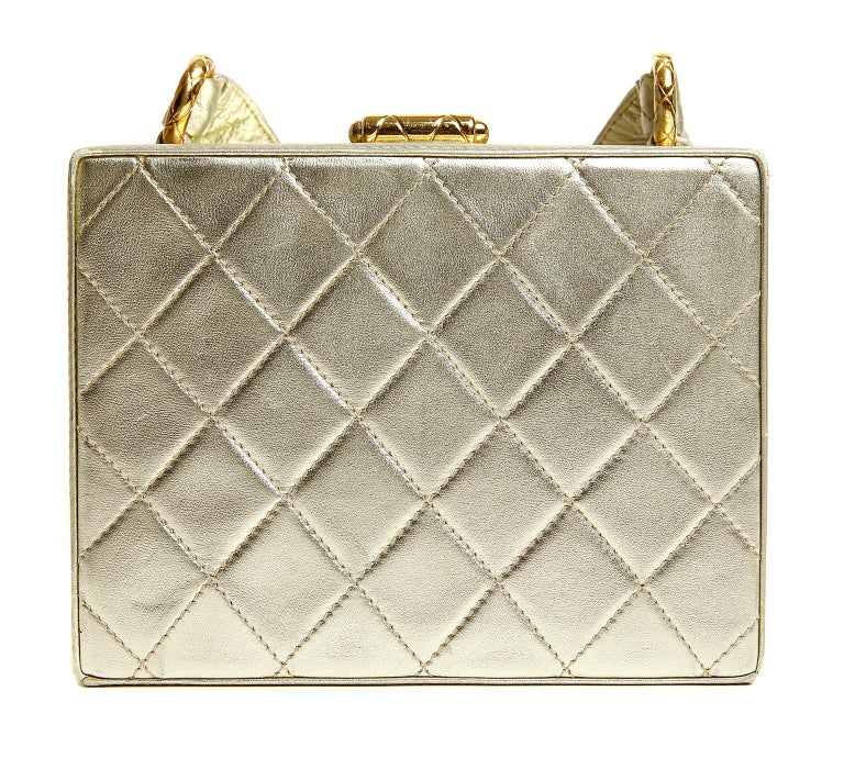Chanel Platinum Leather Box Bag In Excellent Condition For Sale In Palm Beach, FL