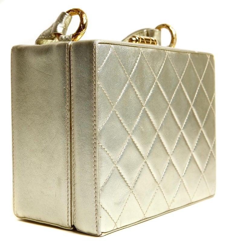 Men's Chanel Platinum Leather Box Bag For Sale