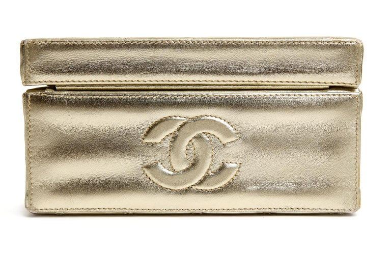 Chanel Platinum Leather Box Bag For Sale 1